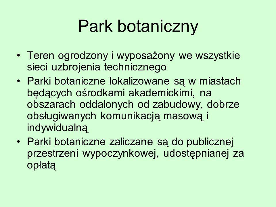 Park botaniczny Teren ogrodzony i wyposażony we wszystkie sieci uzbrojenia technicznego.