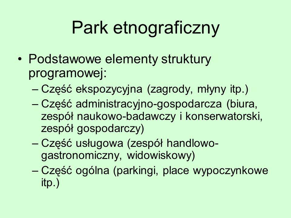 Park etnograficzny Podstawowe elementy struktury programowej: