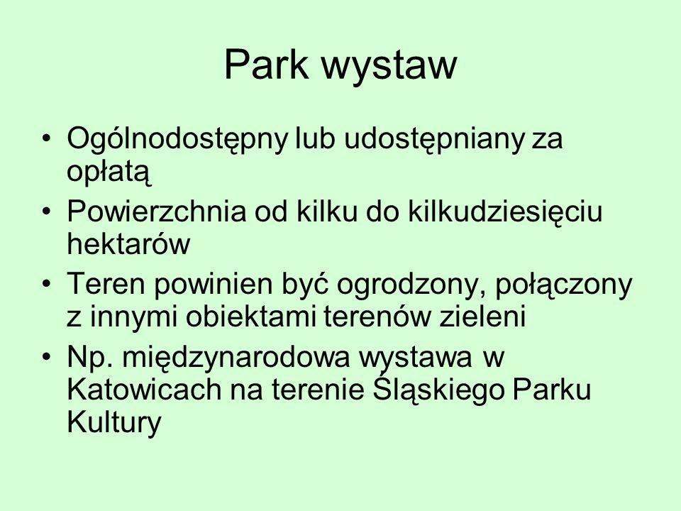 Park wystaw Ogólnodostępny lub udostępniany za opłatą