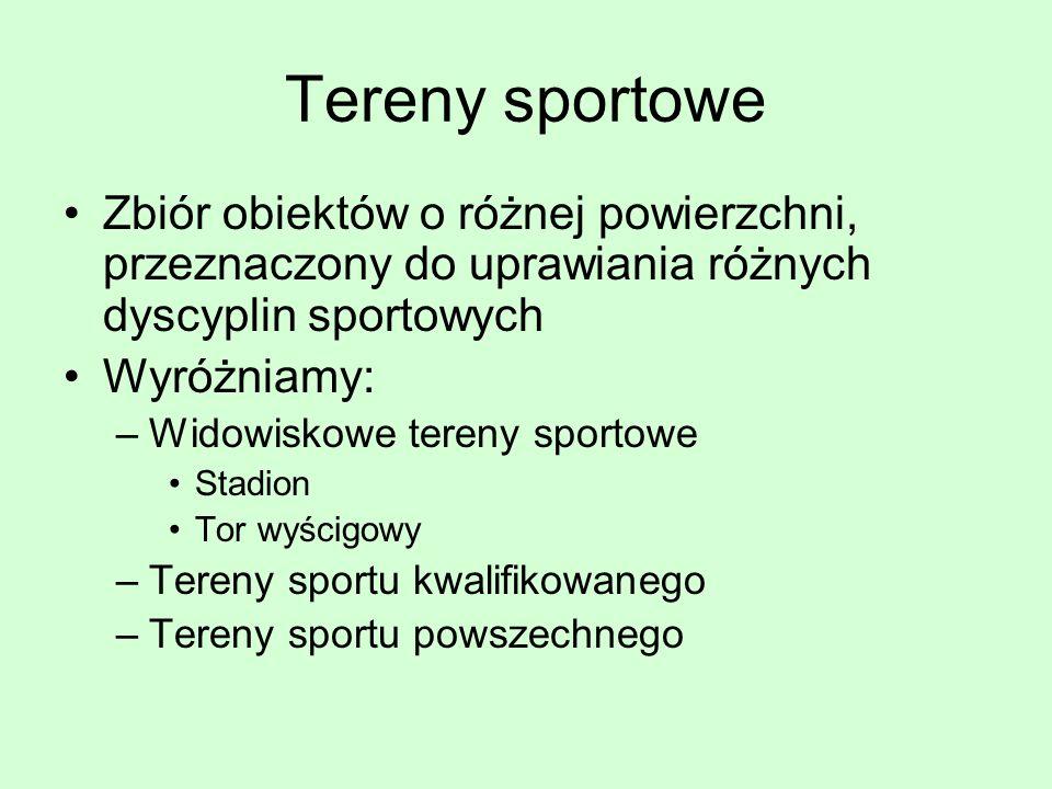 Tereny sportowe Zbiór obiektów o różnej powierzchni, przeznaczony do uprawiania różnych dyscyplin sportowych.