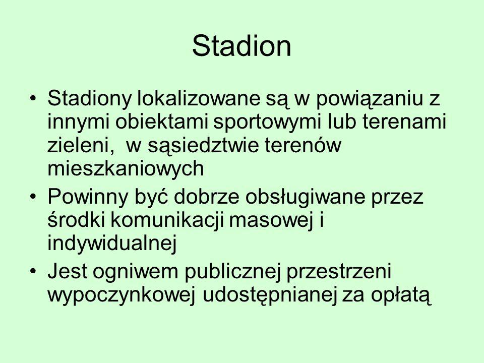 Stadion Stadiony lokalizowane są w powiązaniu z innymi obiektami sportowymi lub terenami zieleni, w sąsiedztwie terenów mieszkaniowych.