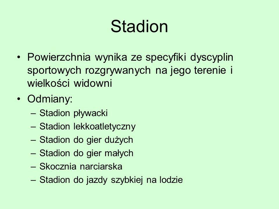 Stadion Powierzchnia wynika ze specyfiki dyscyplin sportowych rozgrywanych na jego terenie i wielkości widowni.