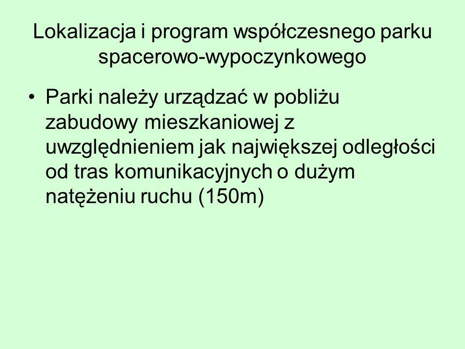 Lokalizacja i program współczesnego parku spacerowo-wypoczynkowego