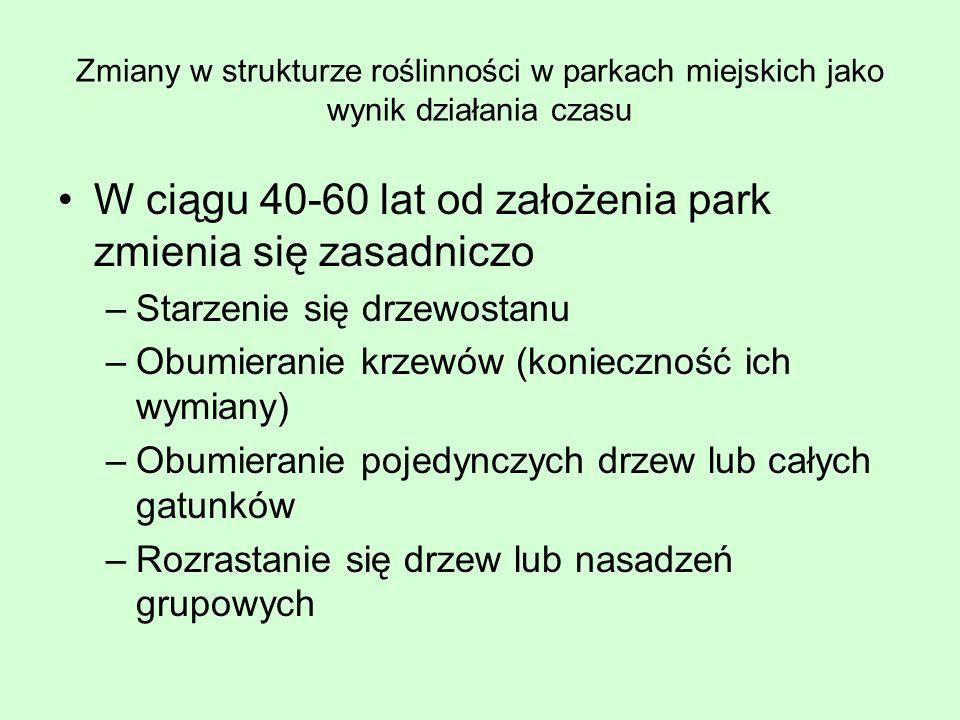W ciągu 40-60 lat od założenia park zmienia się zasadniczo