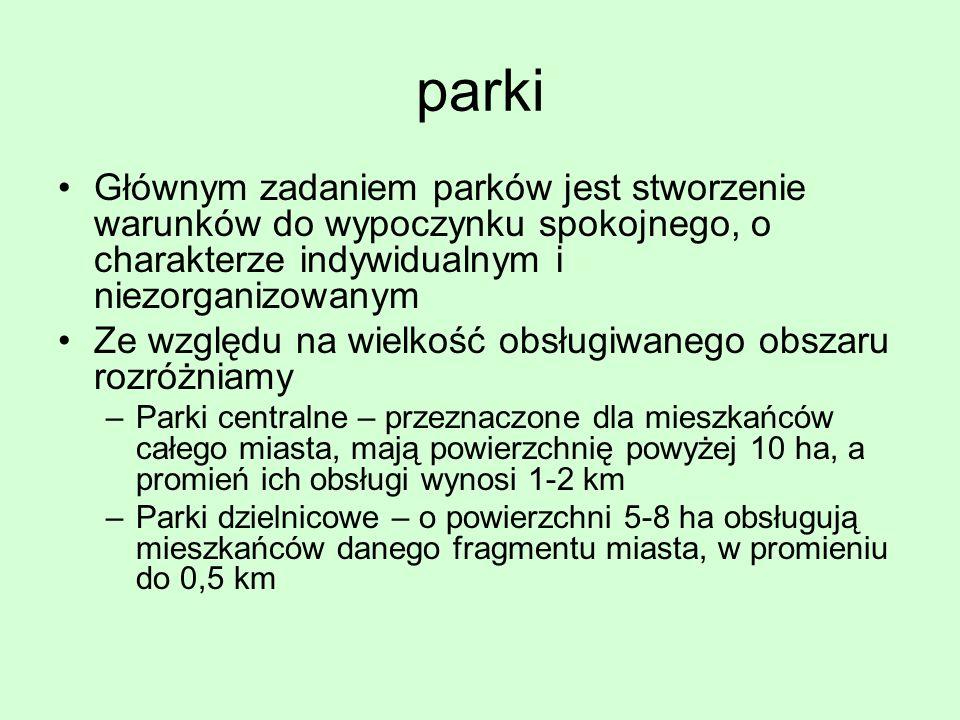 parki Głównym zadaniem parków jest stworzenie warunków do wypoczynku spokojnego, o charakterze indywidualnym i niezorganizowanym.