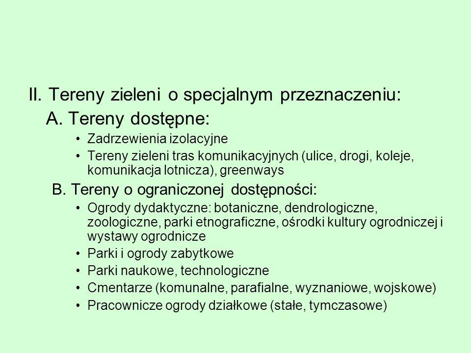II. Tereny zieleni o specjalnym przeznaczeniu: A. Tereny dostępne: