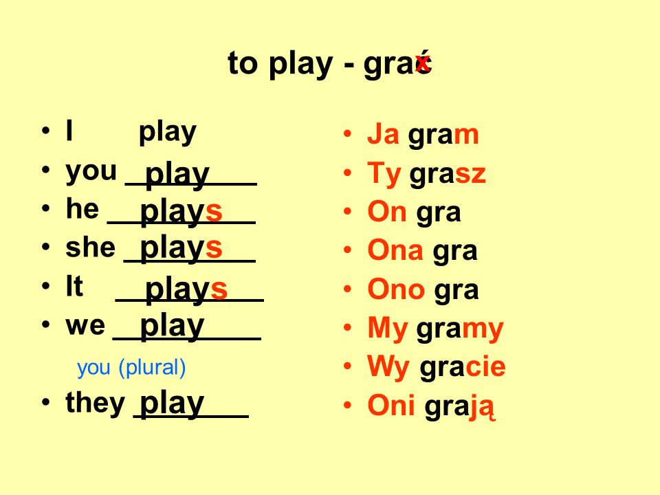 to play - grać play plays plays plays play play x I play Ja gram