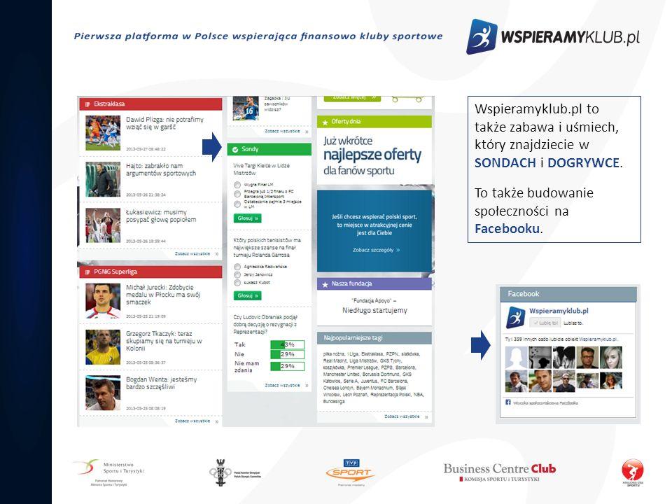 Wspieramyklub.pl to także zabawa i uśmiech, który znajdziecie w SONDACH i DOGRYWCE.