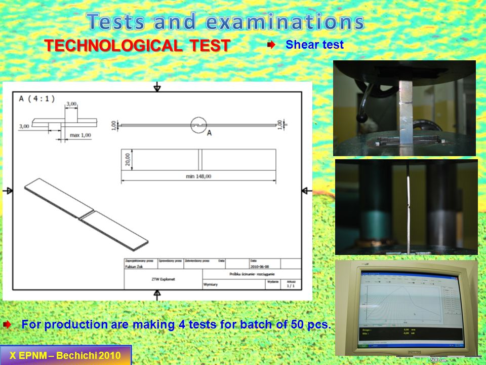 Tests and examinations
