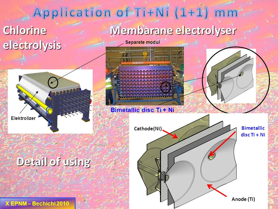 Application of Ti+Ni (1+1) mm