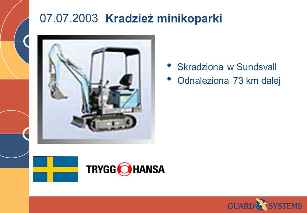 07.07.2003 Kradzież minikoparki Skradziona w Sundsvall