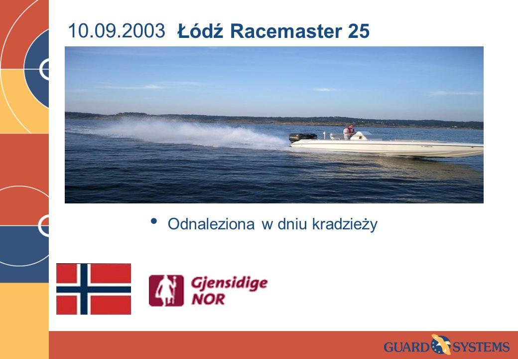 10.09.2003 Łódź Racemaster 25 Odnaleziona w dniu kradzieży