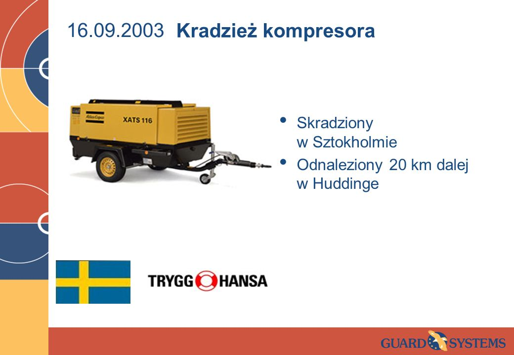 16.09.2003 Kradzież kompresora Skradziony w Sztokholmie
