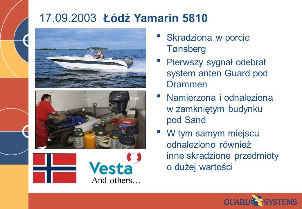 17.09.2003 Łódź Yamarin 5810 Skradziona w porcie Tønsberg
