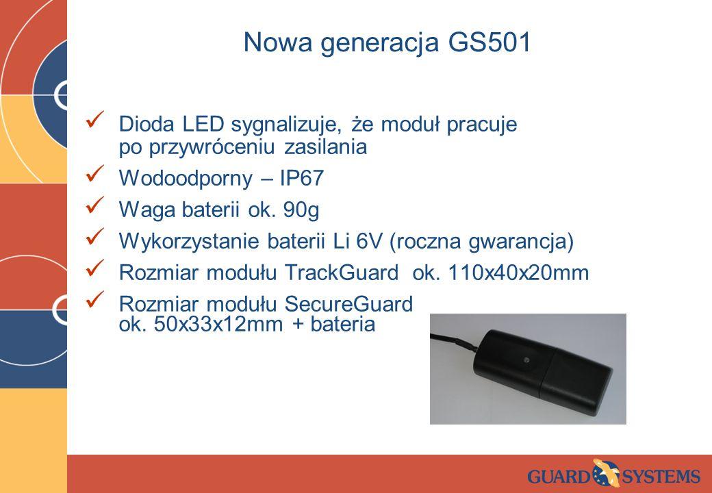 Nowa generacja GS501 Dioda LED sygnalizuje, że moduł pracuje