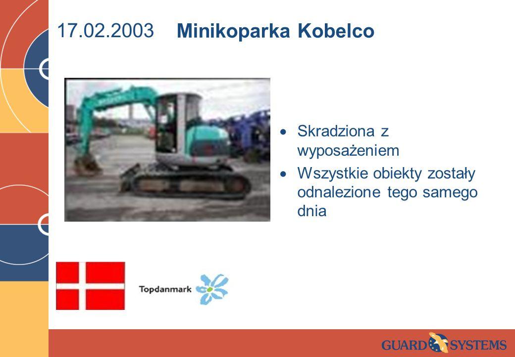 17.02.2003 Minikoparka Kobelco Skradziona z wyposażeniem
