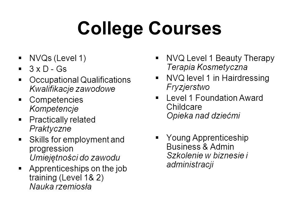 College Courses NVQs (Level 1) 3 x D - Gs