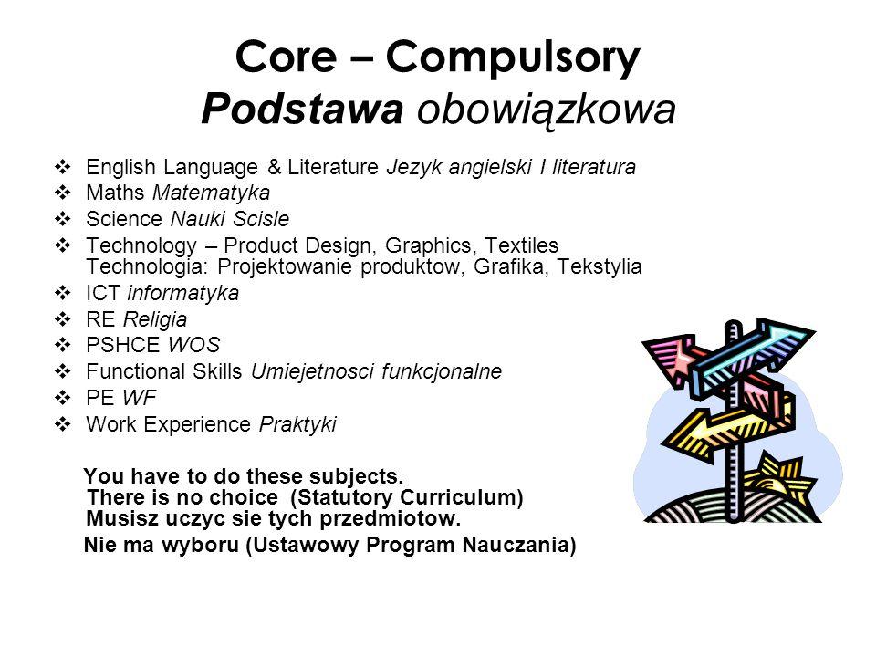 Core – Compulsory Podstawa obowiązkowa
