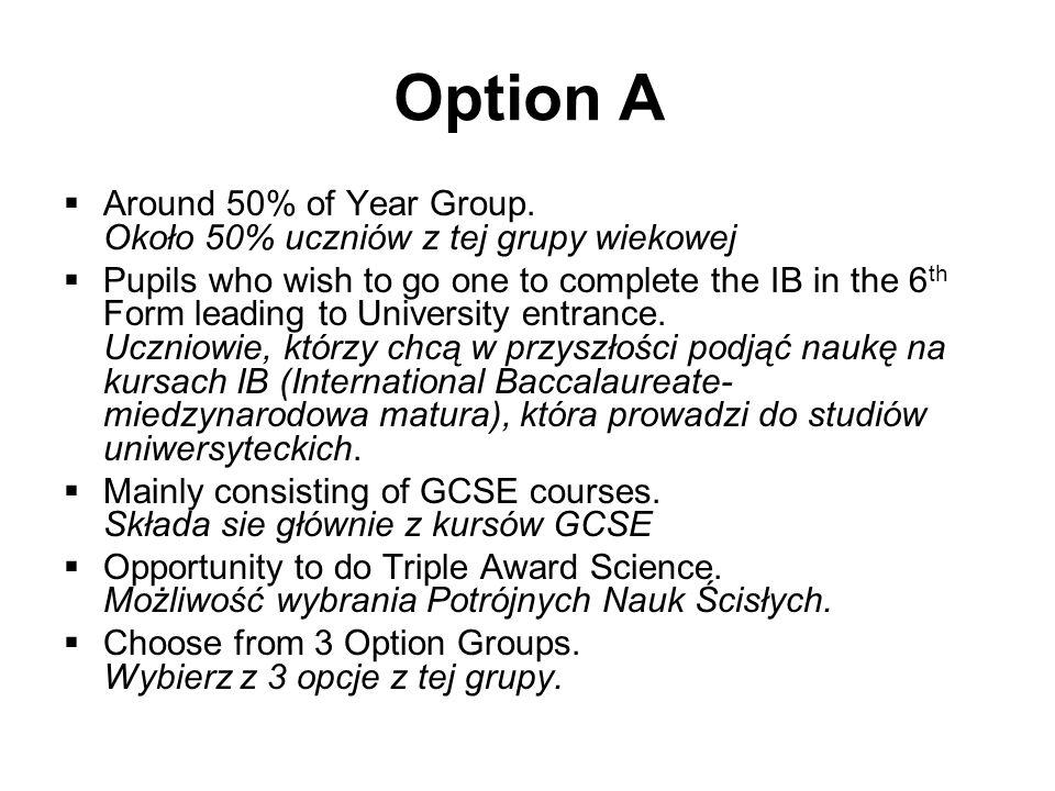 Option AAround 50% of Year Group. Około 50% uczniów z tej grupy wiekowej.
