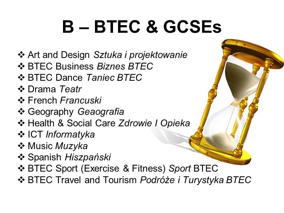 B – BTEC & GCSEs Art and Design Sztuka i projektowanie