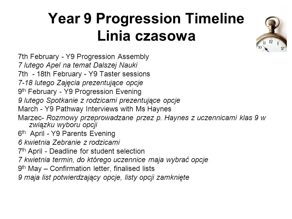 Year 9 Progression Timeline Linia czasowa