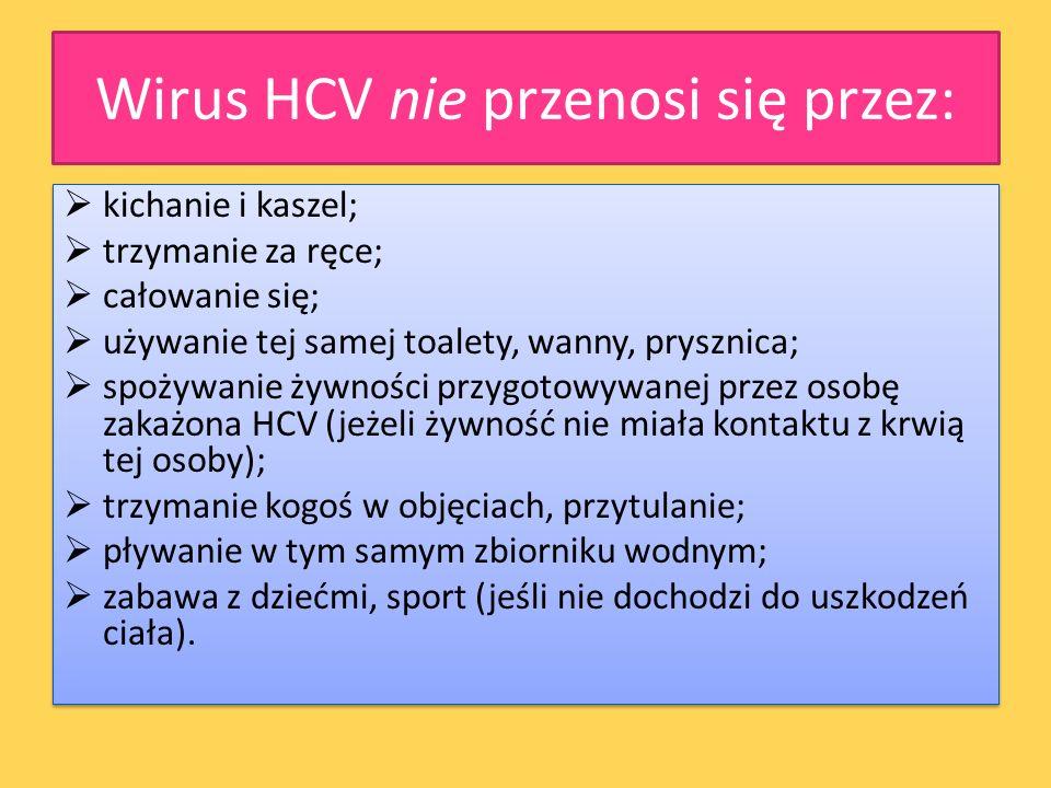 Wirus HCV nie przenosi się przez: