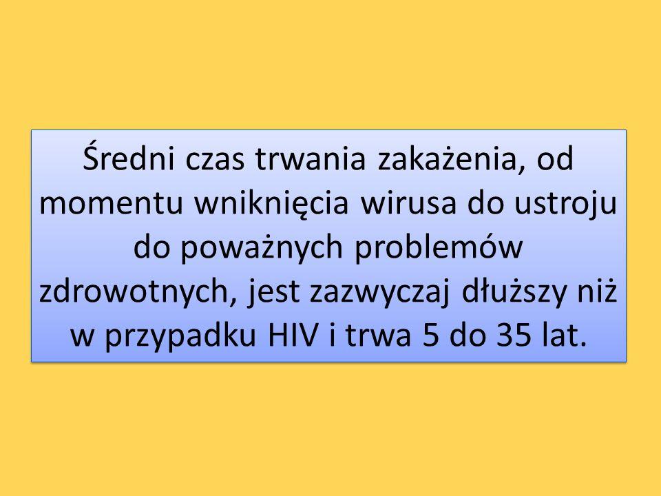 Średni czas trwania zakażenia, od momentu wniknięcia wirusa do ustroju do poważnych problemów zdrowotnych, jest zazwyczaj dłuższy niż w przypadku HIV i trwa 5 do 35 lat.