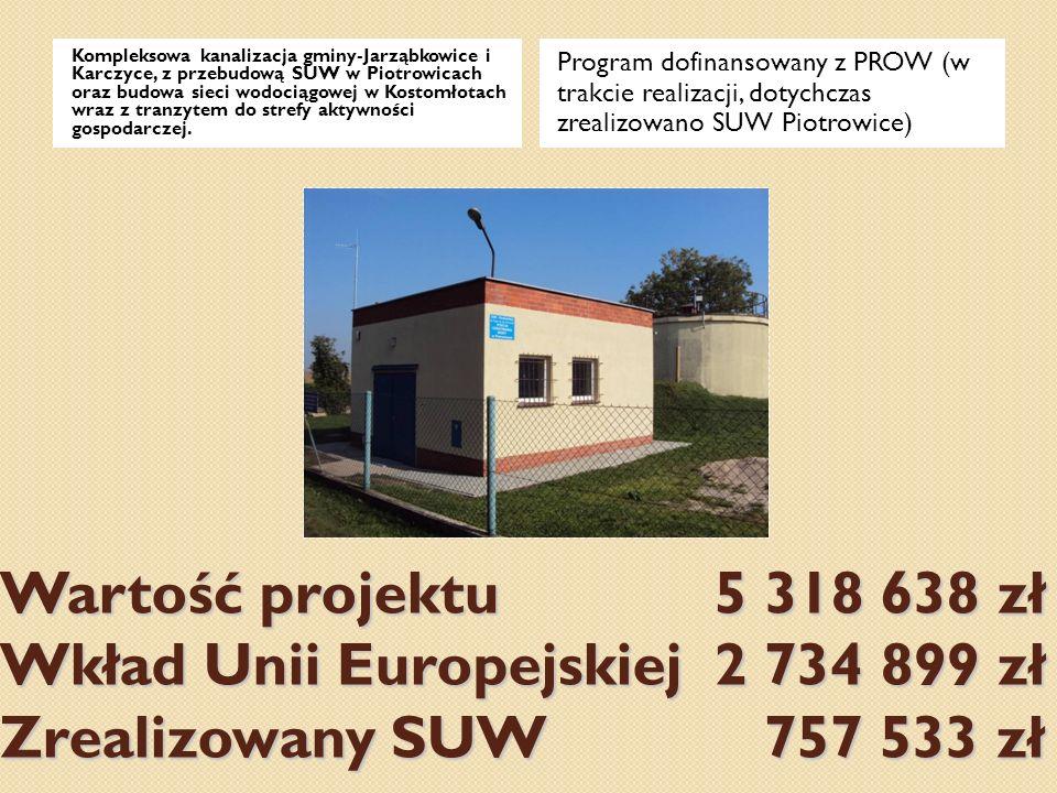 Kompleksowa kanalizacja gminy-Jarząbkowice i Karczyce, z przebudową SUW w Piotrowicach oraz budowa sieci wodociągowej w Kostomłotach wraz z tranzytem do strefy aktywności gospodarczej.