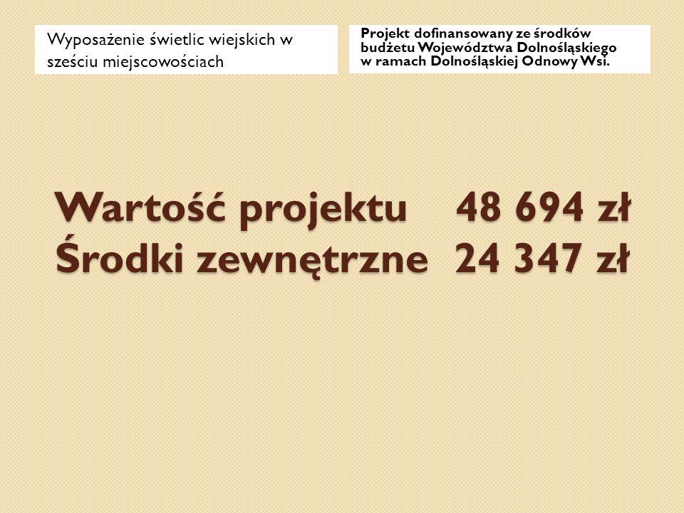 Wartość projektu 48 694 zł Środki zewnętrzne 24 347 zł