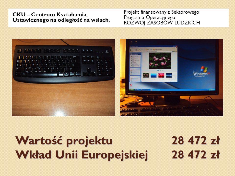 Wartość projektu 28 472 zł Wkład Unii Europejskiej 28 472 zł