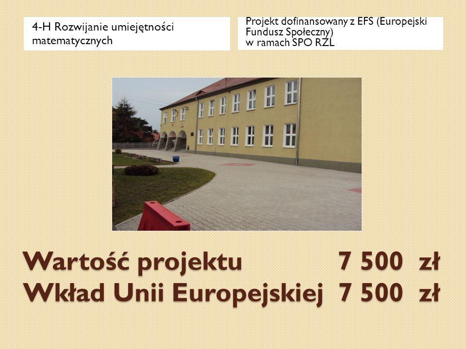 Wartość projektu 7 500 zł Wkład Unii Europejskiej 7 500 zł