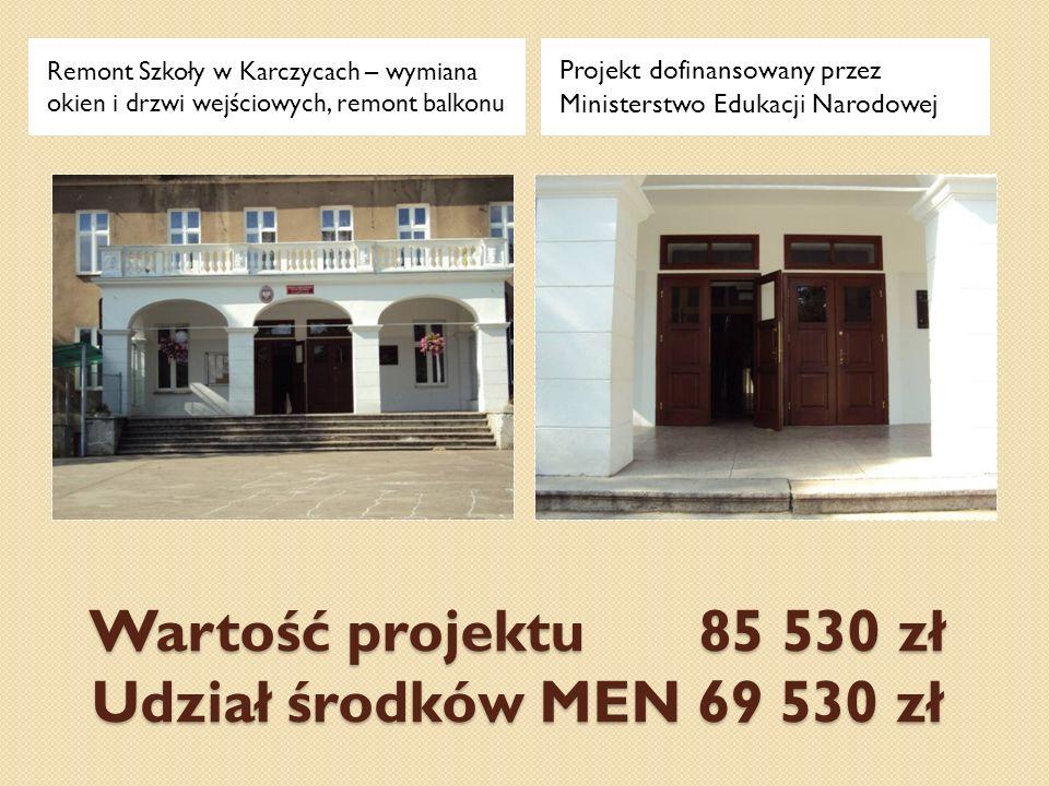Wartość projektu 85 530 zł Udział środków MEN 69 530 zł