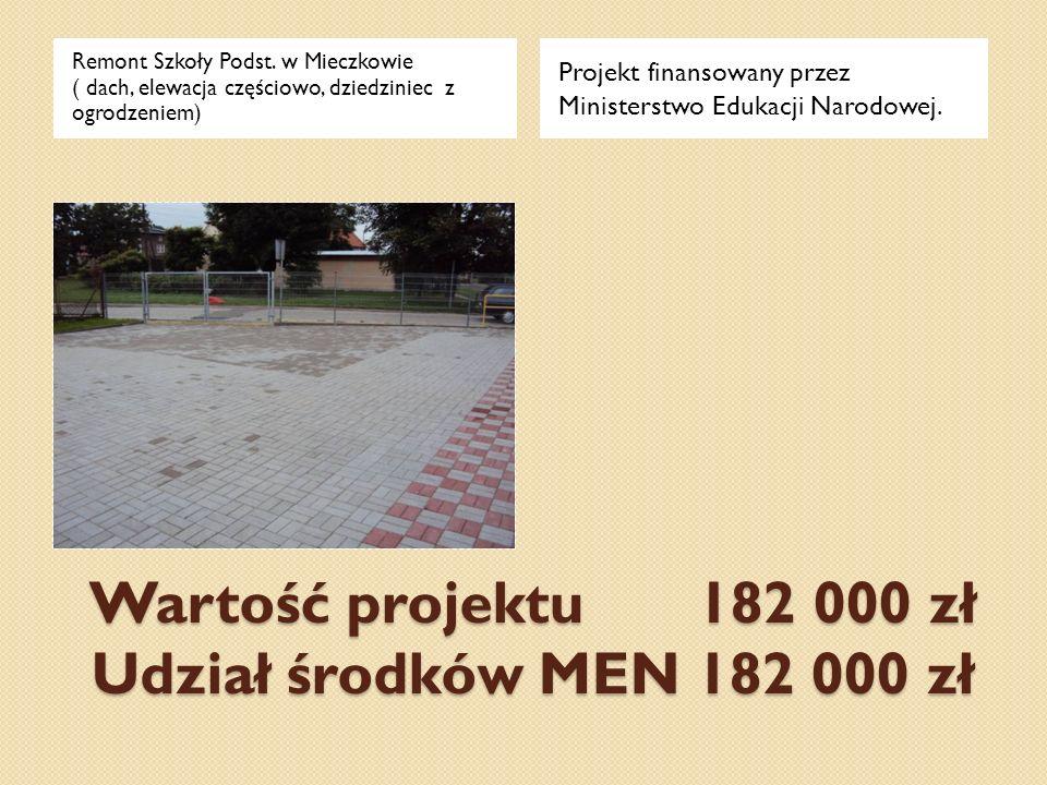 Wartość projektu 182 000 zł Udział środków MEN 182 000 zł