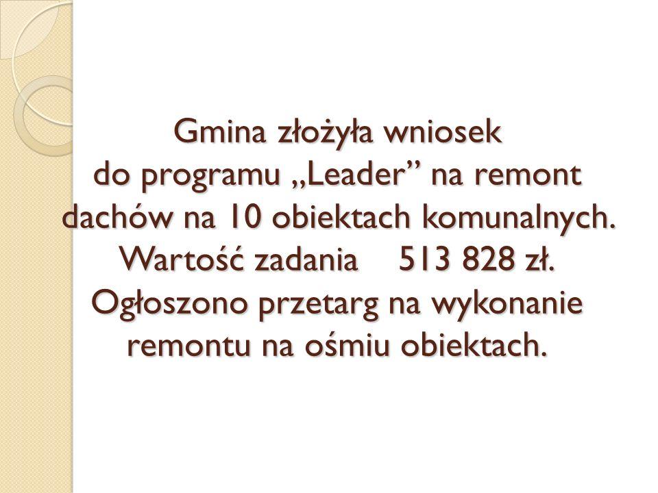 """Gmina złożyła wniosek do programu """"Leader na remont dachów na 10 obiektach komunalnych."""