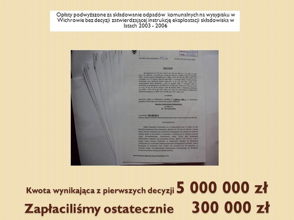 Opłaty podwyższone za składowanie odpadów komunalnych na wysypisku w Wichrowie bez decyzji zatwierdzającej instrukcję eksploatacji składowiska w latach 2003 - 2006