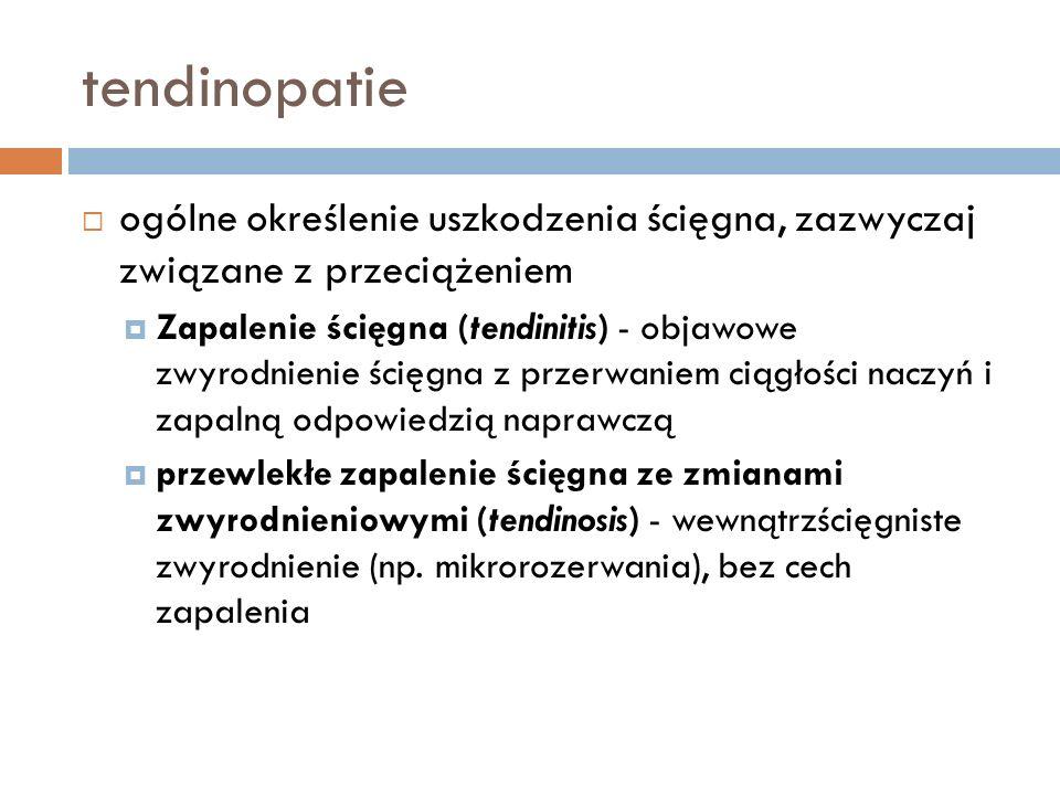 tendinopatie ogólne określenie uszkodzenia ścięgna, zazwyczaj związane z przeciążeniem.