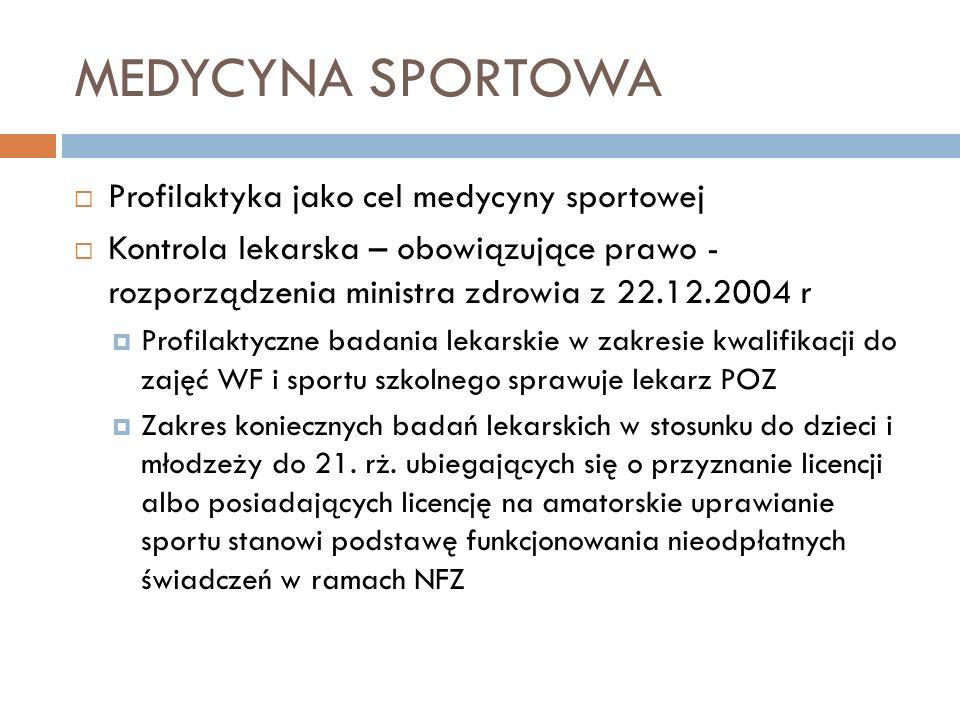 MEDYCYNA SPORTOWA Profilaktyka jako cel medycyny sportowej