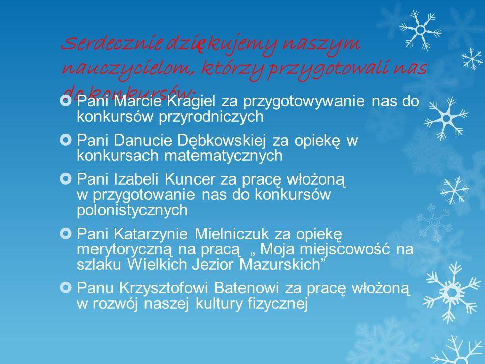 Serdecznie dziękujemy naszym nauczycielom, którzy przygotowali nas do konkursów: