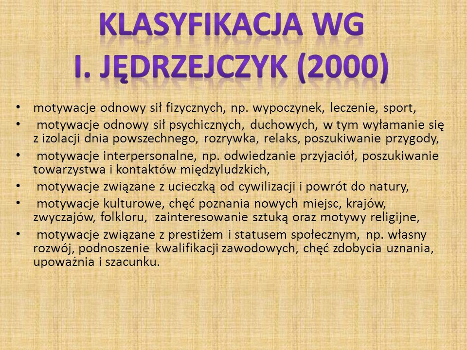 Klasyfikacja wg I. Jędrzejczyk (2000)
