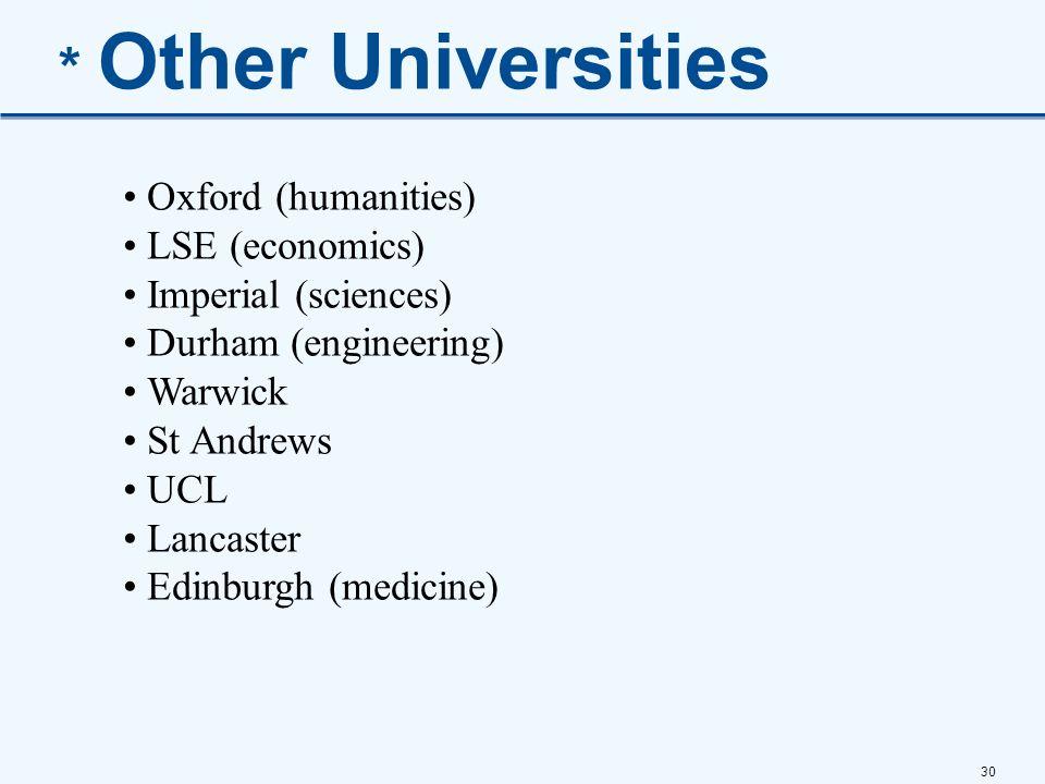 * Other Universities Oxford (humanities) LSE (economics)
