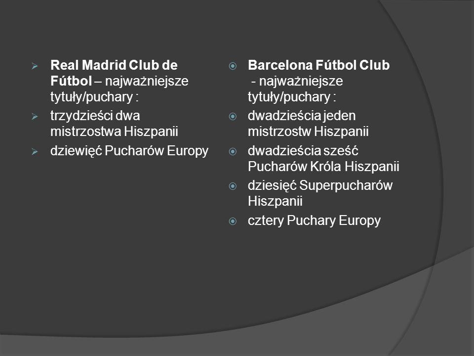 Real Madrid Club de Fútbol – najważniejsze tytuły/puchary :