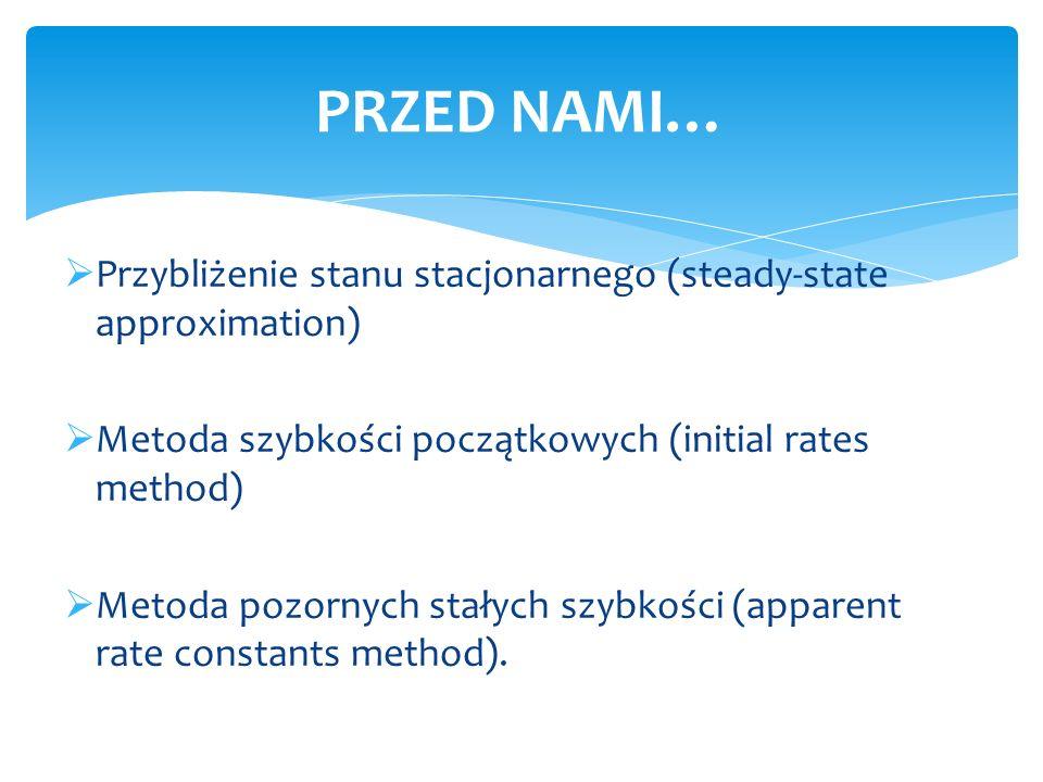 PRZED NAMI… Przybliżenie stanu stacjonarnego (steady-state approximation) Metoda szybkości początkowych (initial rates method)
