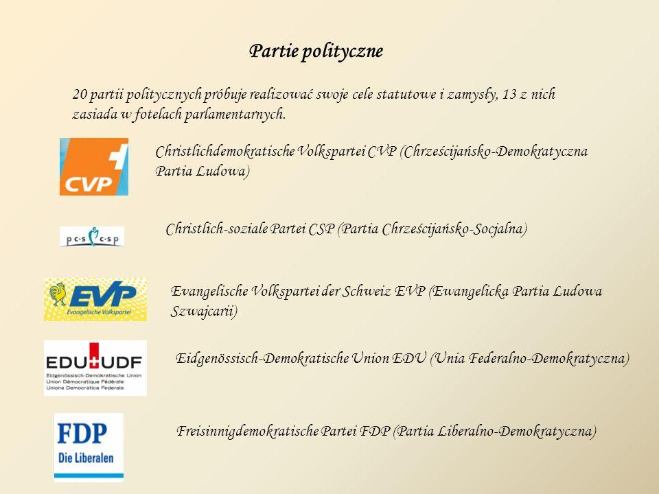 Partie polityczne 20 partii politycznych próbuje realizować swoje cele statutowe i zamysły, 13 z nich.