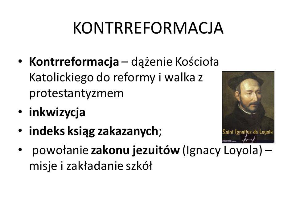 KONTRREFORMACJA Kontrreformacja – dążenie Kościoła Katolickiego do reformy i walka z protestantyzmem.
