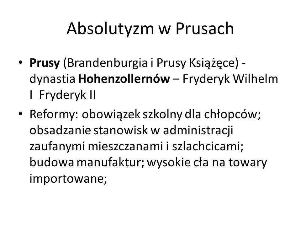Absolutyzm w Prusach Prusy (Brandenburgia i Prusy Książęce) - dynastia Hohenzollernów – Fryderyk Wilhelm I Fryderyk II.
