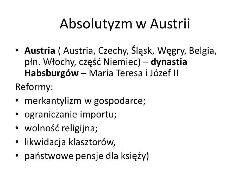 Absolutyzm w Austrii Austria ( Austria, Czechy, Śląsk, Węgry, Belgia, płn. Włochy, część Niemiec) – dynastia Habsburgów – Maria Teresa i Józef II.