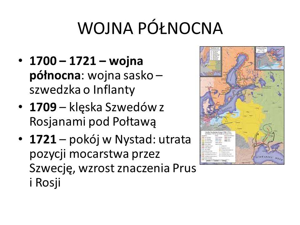 WOJNA PÓŁNOCNA 1700 – 1721 – wojna północna: wojna sasko – szwedzka o Inflanty. 1709 – klęska Szwedów z Rosjanami pod Połtawą.
