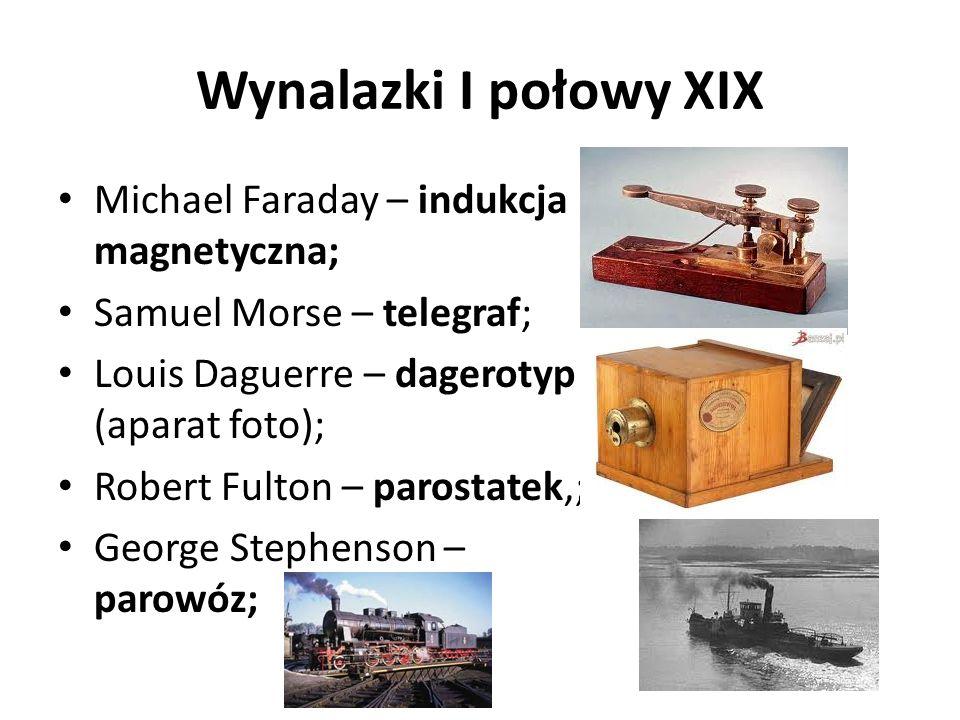 Wynalazki I połowy XIX Michael Faraday – indukcja magnetyczna;