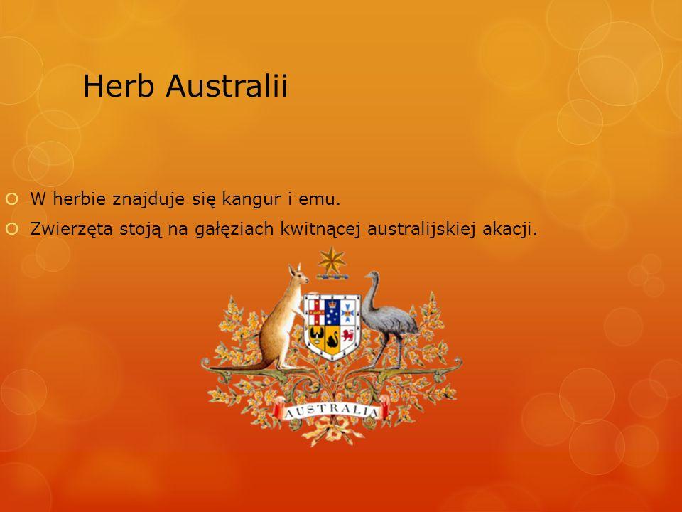 Herb Australii W herbie znajduje się kangur i emu.