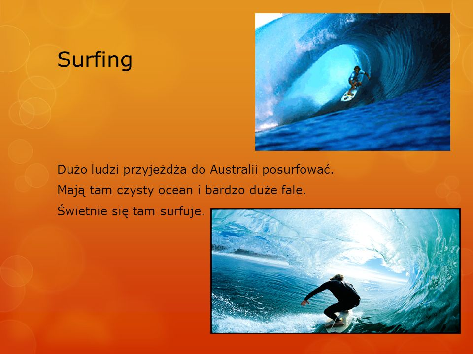 Surfing Dużo ludzi przyjeżdża do Australii posurfować.